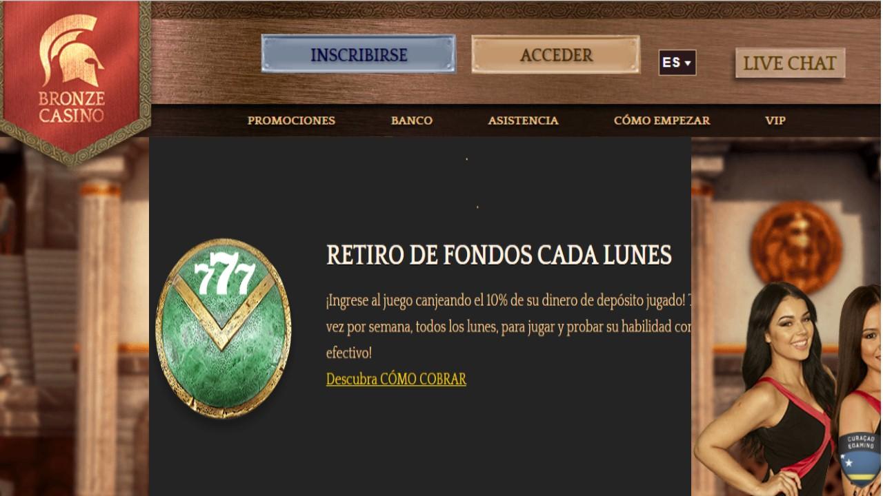Bronze Casino lunes de reembolso del 10% por retiros de dinero
