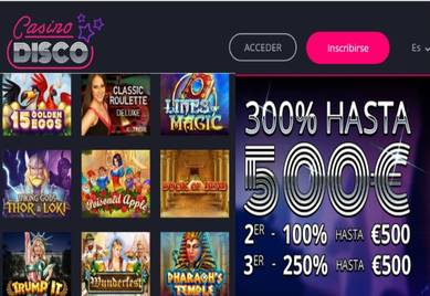 Obtenga hasta 550% promocionales en Casino Disco por los primeros tres ingresos